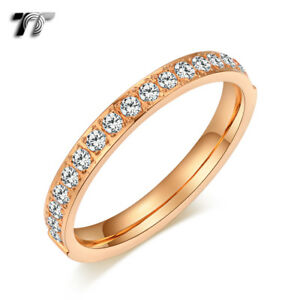 TT 9K Rose Gold 2.5mm S.Steel Inlay CZ Wedding Band Ring Size 3-9 (R347Z) NEW