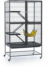 Black Feisty Ferret Rabbit Cage Pet Home Metal Indoor Outdoor w/ Ramp Shelves