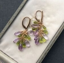 14K GF AMETHYST PERIDOT EARRINGS CLUSTERS AAA