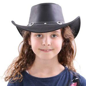 AUSTRALIA Cowboy Westernhut Leder Hut SHERIFF für Kinder Junge Mädchen Black XS