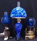 Miniature Lamp Murano Spatter Cobalt & White Glass. Oil. Nutmeg England Burner