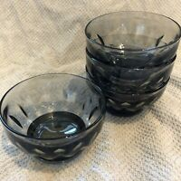 VINTAGE RETRO Smoked Brown Glass Sundae / Starter Dishes set of 4