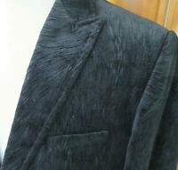 NEW $595 Mens 48/L Black VELVET Swirl 1-Button SMOKING JACKET Blazer Sport Coat