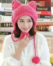 Winter Women Cat Ear Muff Crochet Braided Knit Caps Warm Snowboarding Beanie Hat