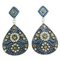 Boucles D'oreilles femme ethnique losange goutte Argent tibétain bleu blanc doré