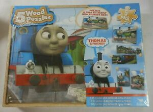 Thomas & Friends Wooden Jigsaw Puzzles - 5 Puzzles In Wooden Storage Box
