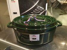 Staub 33cm Basilic Green oval cocotte with magnetic trivet BNIB