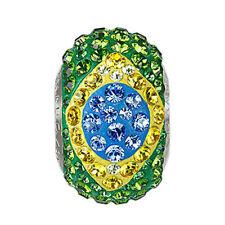 Swarovski BeCharmed Pavé Flag Brasil Sapphire Green Topaz Color Stainless Steel
