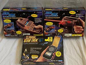 Star Trek The Next Generation Bajoran Phaser, Tricorder,Classic Communicator Lot