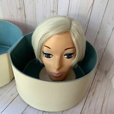 Vintage 60s Wig Head Hat Box & Synthetic Mode Wig