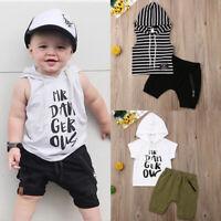 2PCS Infant Baby Boys Kids Hooddle Tops T-shirt Short Pants Outfits Set Clothes