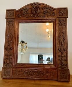 Beautiful Solid Antique 19th Century Carved Wooden Bevelled Glass Wall Mirror