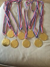 8 X Gold Football Medals With Red White And Blue Ribbon Bn