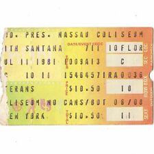 Santana & Gary U.S Bonds Concert Ticket Stub Uniondale Ny 7/11/81 Nassau Rare