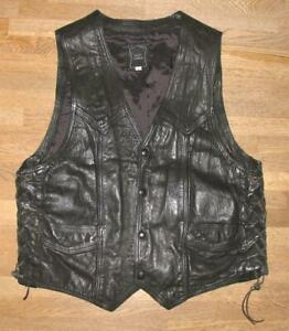 Men's Lace-Up Leather Vest/Motorrad- Vest / Vest IN Black L Approx. Size 50