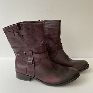 Women's M&S Autograph UK 8 EU 42 Brown Leather Side Zip Front Strap Boots