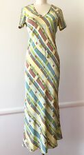 1990s Vintage Betsey Johnson Grunge Label Size S Multi-Color Silk Maxi Dress