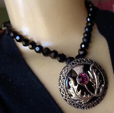 Vintage Necklace Huge Royal Thistle Pendant W/ Brooch Back Black Crystal Beads