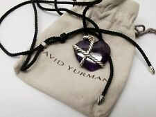 Auth David Yurman Le Petit Coeur Amethyst Heart Necklace Sterling Silver Cable