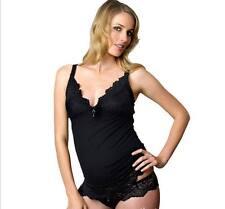 Nightwear Homewear Top Tank Nursing Breastfeeding V-Neck Strappy Slip Black Cute