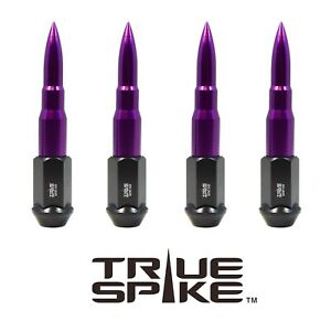 """20PC TRUE SPIKE 112MM 9/16"""" FORGED STEEL LUG NUTS PURPLE EXTENDED BULLET SPIKES"""