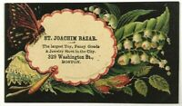 1876 St. Joachim Bazar Toys Jewelry Boston Massachusetts MA Victorian Trade Card