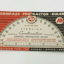 Sterling Combination Compass Protractor Ruler Vintage USA Fits Ring Binder #520