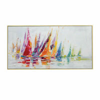 CHOP1487 100% handmade painted color sail boat oil painting art on canvas