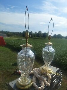 Pair Of WATERFORD CRYSTAL Heavy Glass And Brass Crescent Table Lamps NO DAMAGE