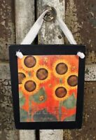 Country Primitive Sunflowers Rustic Handmade Wooden Sign