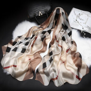 """100% Pure Silk Scarf Women Large Long Scarf Shawl Check Style 71""""*26"""""""