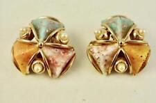 Vintage Silvertone Confetti Lucite & Pearl Accent Clip Earrings