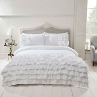 "Rapport ""Flamenco"" Frills, Ruffles Spanish Style Duvet Cover Bedding Set White"