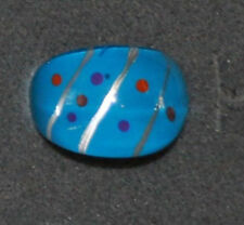 Lucite Blue Enamel Polka Dot Ring Size 8 Vintage Large Chunky Clear Dome