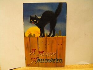 Clapsaddle Halloween Postcard - A Large Black Cat Of A Fence