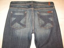 7 For All Mankind Women Flynt Bootcut Jeans Dark Distressed Sz 28  MSRP $180