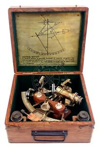 """8"""" Henry Barrow Nautical Sextant Antique Brass Ship Astrolabe With 2 Telescope"""
