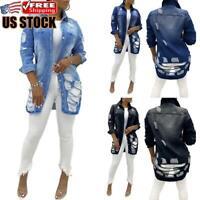 Women's Ripped Denim Jacket Ladies Casual Jean Long Sleeve Jaket Coat Outwear