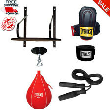 Boxing Speed Bag Set 6-Piece Platform Swivel Gloves Hand Wraps Drum Box New
