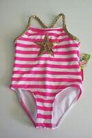NWT Penelope Mack Little Girls 4 1 Pc Swimsuit Pink White Gold Star Stripe