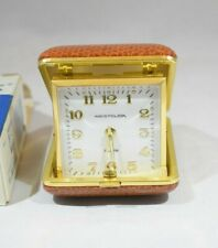 Vintage WESTCLOX Wind Up Travel Alarm Clock Brown Leather Case Works well