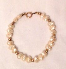 "Vintage 14k Gold Seed Pearl Bracelet 6.5"""