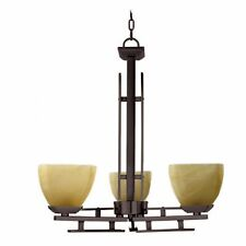 3-Light Venetian Bronze Chandelier w Honey Parchment Glass Shades
