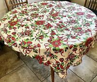 "Vintage Holiday Christmas Tablecloth Ornaments Bells White Green Red 52"" x 68"""