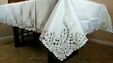 """Polyester Cutwork Peacock Embroidery Tablecloth Napkin 72x90"""" Dining Table Cover"""