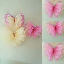 Girls birthday party room  decorations  nursery bedroom 3 hanging  butterflies