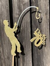 Personalised Fishing Fisher Man Custom Message Age Happy Birthday Cake Topper