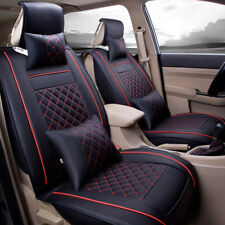 2pc Front Leather 5-saets Car Front Seat Covers Cushions All Seasons Black&Red