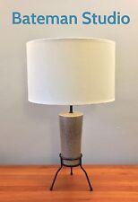 Taupe Ceramic Tripod Mid Century Modern Lamp Brown Beige Tan