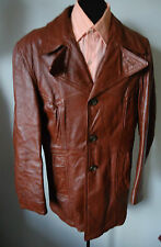 Vtg mens 70s Big Collar Leather Campus Car Jacket 40 Craft Canada